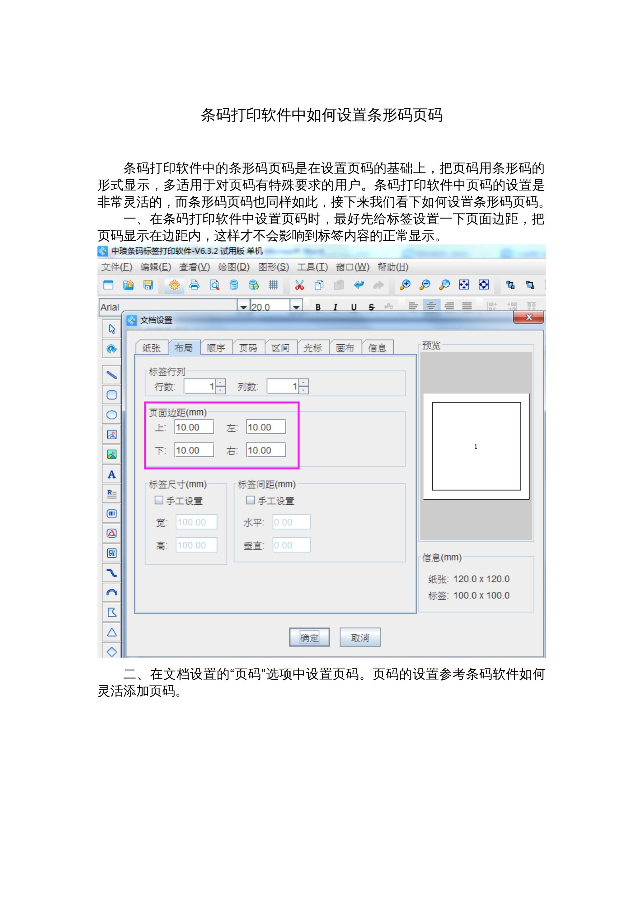 条码打印软件中如何设置条形码页码 封面